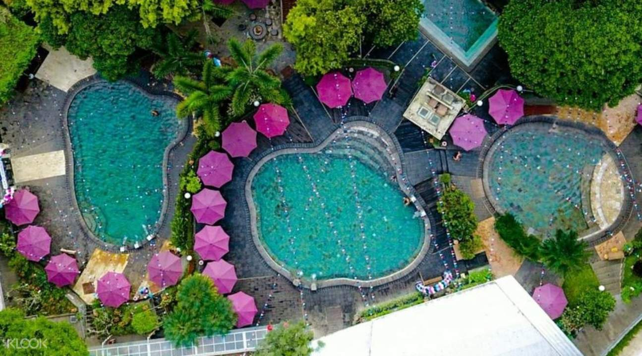 bird's eye view of hot spring pools